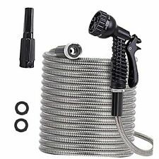 Metal Garden Hose Stainless Water Hose With Adjustable Nozzle And 7 100ft