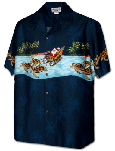 Turtle Sleigh Santa Christmas Hawaiian Shirt