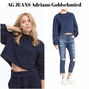 Nuovo Blue Cubo Ag Small Adriano Indigo Cropped Jeans Goldschmied Felpa Knit rwr7Cazxq
