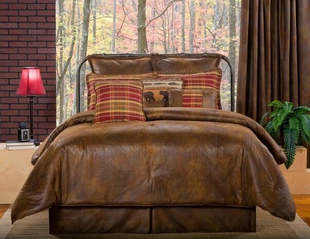 10pc Dark braun rot Lodge Style Faux Leather Comforter Set King