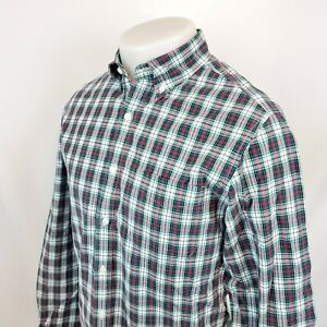 J-Crew-Mens-Shirt-Sz-Small-L-S-Plaid-Check-Button-Down-Green-Classic-Fit-A22-03