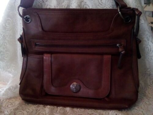 Womens Purse Brown leather, deep front side pocket