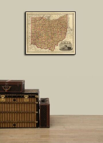 """16x20 1860s """"Township Map of the State of Ohio"""" Vintage Style US Map"""