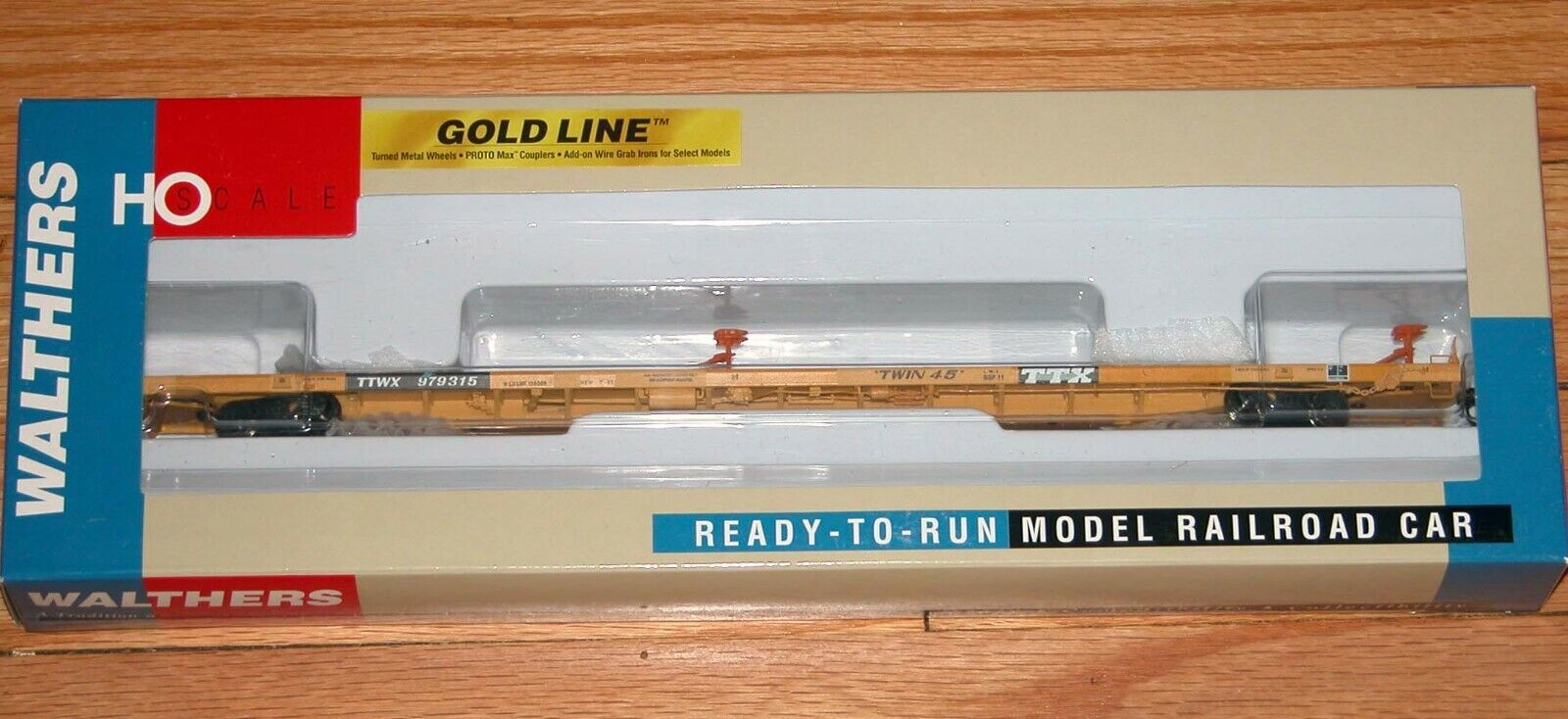 WALTHERS 932-40821 gold LINE ALL PURPOSE FLAT CAR WITH ACF HITCHES TTX NEW TTWX
