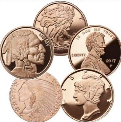 Lot of 10 1oz Random Different Design Copper Bullion Rounds Coins-Surprise Set-C