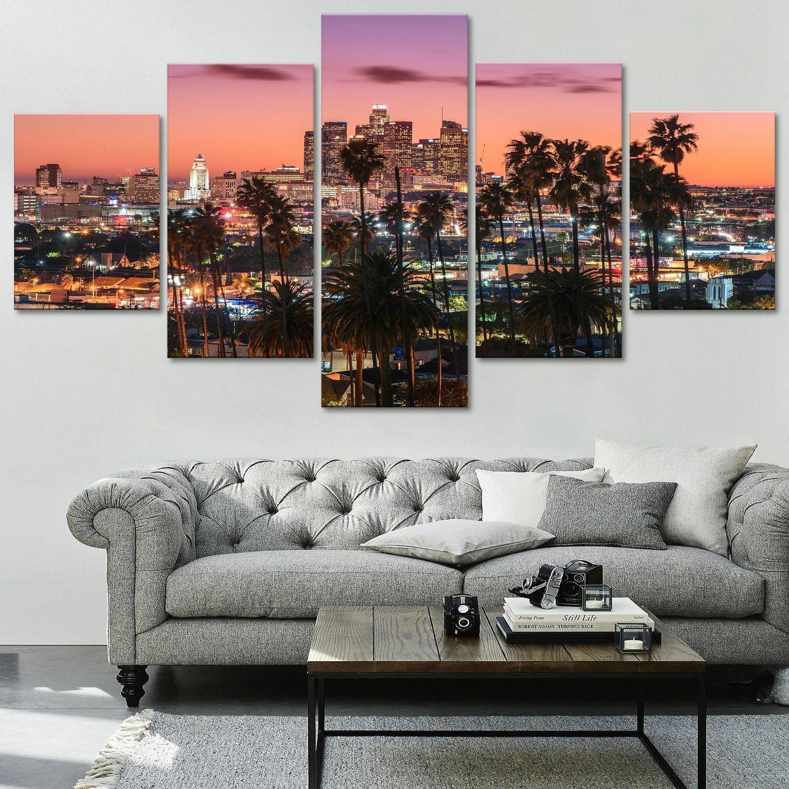 Los Angeles City Landscape 5 panel canvas Wall Art Home Decor Poster Print