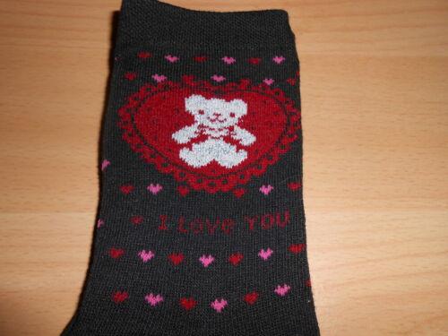 chaussettes femme noir imprimé coeur ourson argenté pointure 35//38 neuve