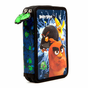 Angry-Birds-MOVIE-FILLED-Double-Pencil-Case-Stationery-School-Boys-Black