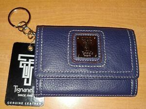 Tignanello Small Navy Blue Leather Photo ID Coin Purse Key Chain Wallet