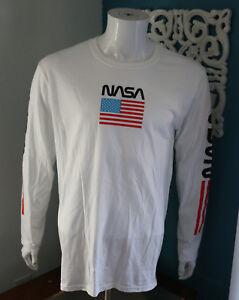 19ddbde8e NASA Mens White Long Sleeve Graphic Tee Space American Flag T Shirt ...
