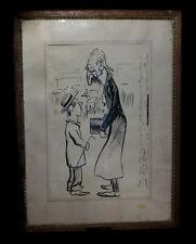 [CARICATURE DESSIN ORIGINAL à la plume]  SOMM (Henri ou Henry). Circa 1904.