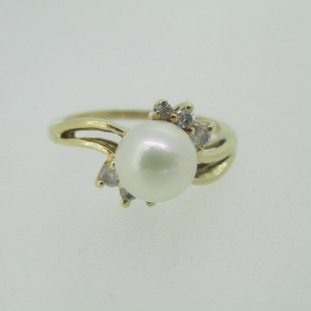 36072509598ca8 14k Yellow Gold Approx 6.7mm Pearl Ring With Diamond Accents Size 6 1/2 |  eBay