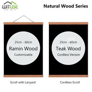 Photo Frame 21cm Modern Magnetic Wooden Picture Frame DIY Custom Poster Scroll Prints Artwork Hanger Teak Wood