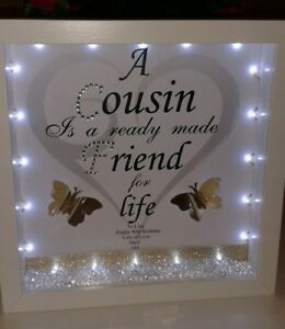 Image Is Loading Personalised Cousin Sister Birthday Gift With Photo Lights