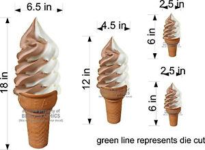 LOT-OF-4-SOFT-SERVE-ICE-CREAM-CONE-DECALS-NEW-GRAPHICS-TWIST-CHOCOLATE-VANILLA