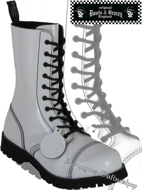 Boots And Braces Stiefel 10-Loch Weiß Hot Colour Rangers Schuhe Stahlkappen