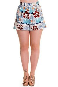 Clothing, Shoes & Accessories Shorts XS VINTAGE LOOK HAWAII HIGH WAISTED SHORTS PIN UP TROPICAL COTTON TIKI UK 8