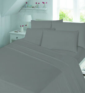 Image Is Loading Grey Silver Fitted Sheets FLANNELETTE Soft 100 Brushed