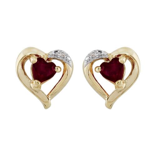 9ct Yellow Gold Garnet /& Diamond Earrings