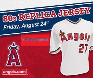best service 58991 0abcf Details about Mike Trout # 27 LA Angels 80s Replica Jersey Men's Size  X-Large 8/24/18 SGA NIB