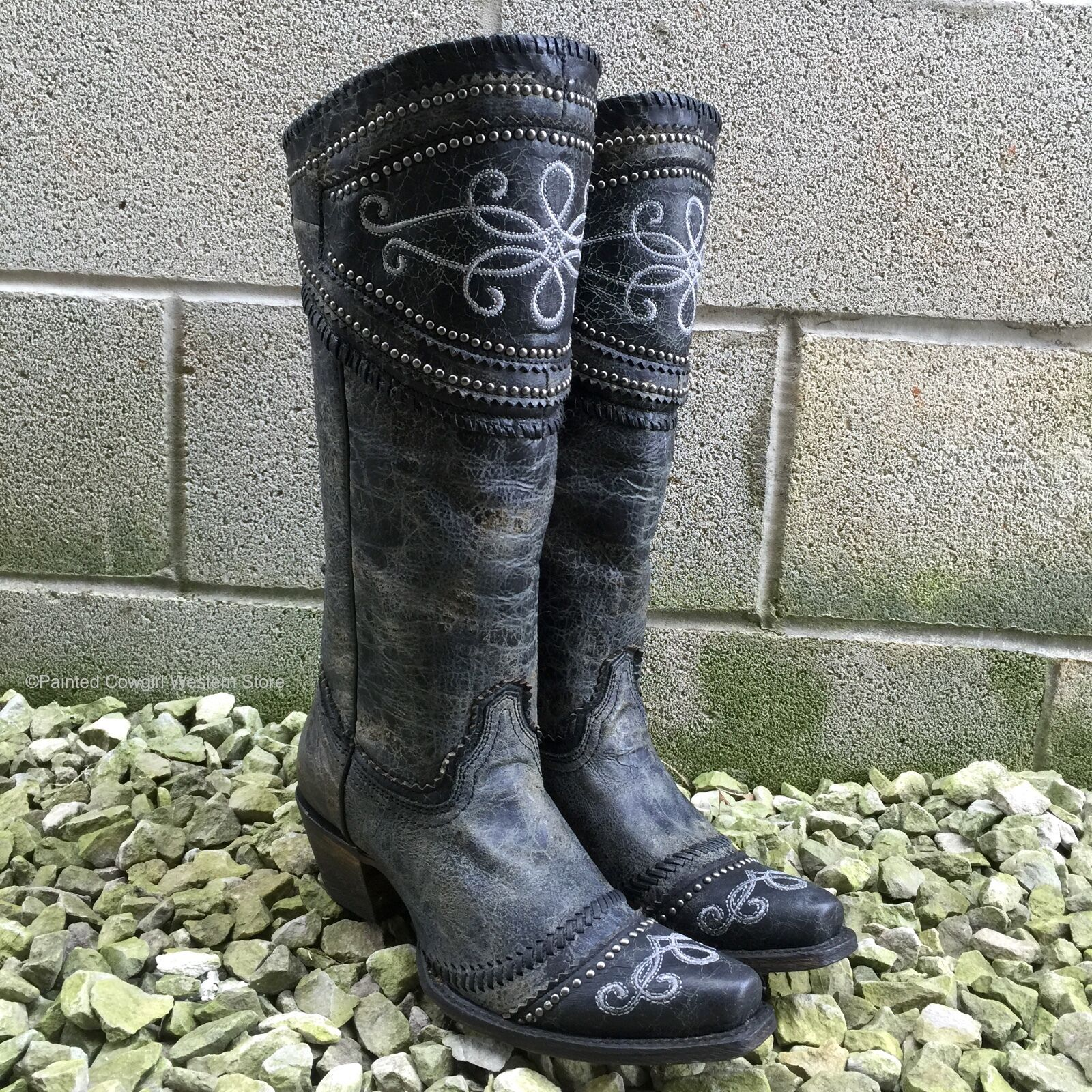 CORRAL WOMEN'S BLACK/GREY WIDE COLLAR & STUDS LACE UP WESTERN BOOTS A3176