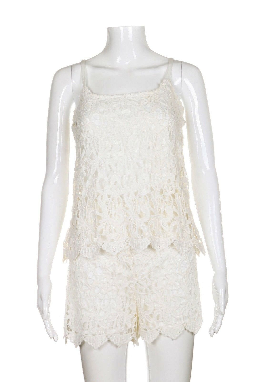 NWT ROMEO + JULIET COUTURE Crochet Romper Large White Short Lace Boho New Ivory