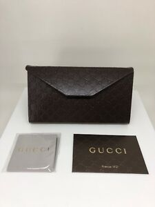 New-GUCCI-Case-Sunglasses-Eyeglasses-Brown-Leather-Folding-New-Large-Gucci-Case
