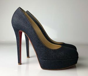 separation shoes e763c 3f387 Details about Christian Louboutin Bianca 140 Navy Blue Denim Jeans Platform  Pumps Euro 39.5