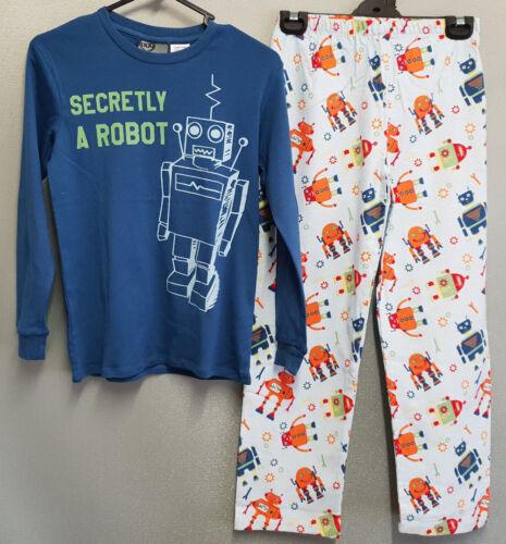 BNWT Boys Sz 8 Under Cover Crew Blue Robot Long Flannel Knit Winter Pyjamas