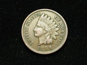 SUMMER-SALE-VF-XF-1898-INDIAN-HEAD-CENT-PENNY-w-DIAMONDS-amp-PART-LIBERTY-175s