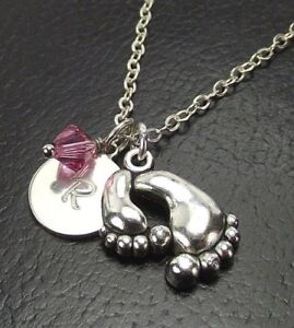 80eb0f206e9c7 Details about Custom Mother Child Feet Necklace with Swarovski Birthstone  Crystal Initial Disk