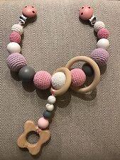 Bebé Cochecito clip cadena Guirnalda de madera hecho a mano ganchillo Ducha Mordedor regalo recién nacido