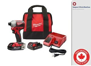 Milwaukee-2850-22-M18-Compact-GEN-II-Brushless-1-4-034-Hex-Impact-Driver-Kit