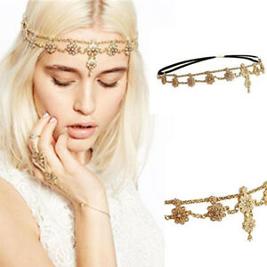 Damen-Perle-Strass-Kopf-Kette-Schmuck-Stirnband-Kopf-Stueck-Haarband-DBSD