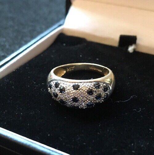 VINTAGE VINTAGE VINTAGE 9 KT 9k oro Giallo Zaffiro Diamante Pave Cluster a cupola dimensioni dell'anello O 9e0e6f