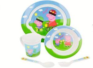 Set Pappa Peppa Pig 5 pezzi piatto ciotola tazza cucchiao e forchetta