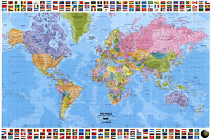 World map political poster print 36x24 ebay image is loading world map political poster print 36x24 gumiabroncs Gallery