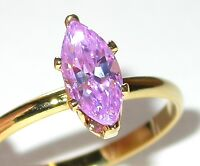 Marquise Lavender Ice CZ SOLITAIRE RING Cubic Zirconia 14K Gold Plated