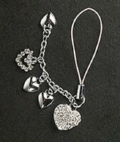 5 Crystal Hearts Cell Phone Charm For Mobile Phone