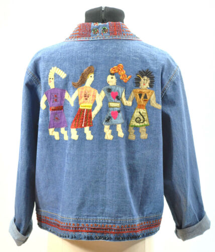 Aztec 1 Jean Chicos Tribal Denim M Knap Beaded Frakke Jakke Kvinder Foran q4XH6Xw