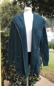 Eddie-Bauer-Lounge-Women-s-Hooded-Cardigan-Sweater-Deep-Green-XS-S-Extra-Small