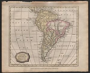 1806 ANTIQUE H/COL MAP - SOUTH AMERICA FROM THE BEST AUTHORITIES