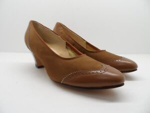 Footsavers-Women-039-s-Classic-Leather-Slip-On-Casual-Dress-Pump-Brown-Size-7A