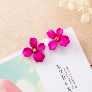 296807b0e4bb Image is loading Designer-Inspired-Enamel-Big-Stud-Fuchsia-Pink-Flower-
