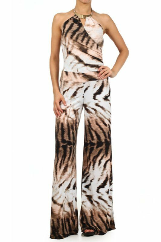 Women's Ladies Tie Dye Animal Striped Full Length Brown Jumpsuit With A Wide Leg