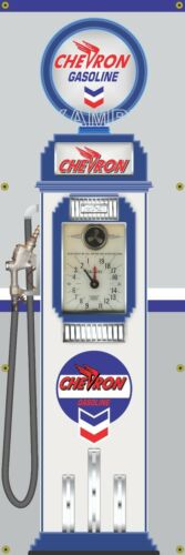 CHEVRON GAS REGULAR OLD TOKHEIM CLOCKFACE GAS PUMP BANNER SIGN MURAL ART 2' X 6'
