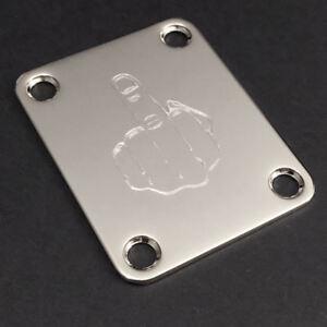 Agressif Gravé Gravé Guitar Neck Plate Fender Taille Moyenne-doigt Fu-chrome-afficher Le Titre D'origine