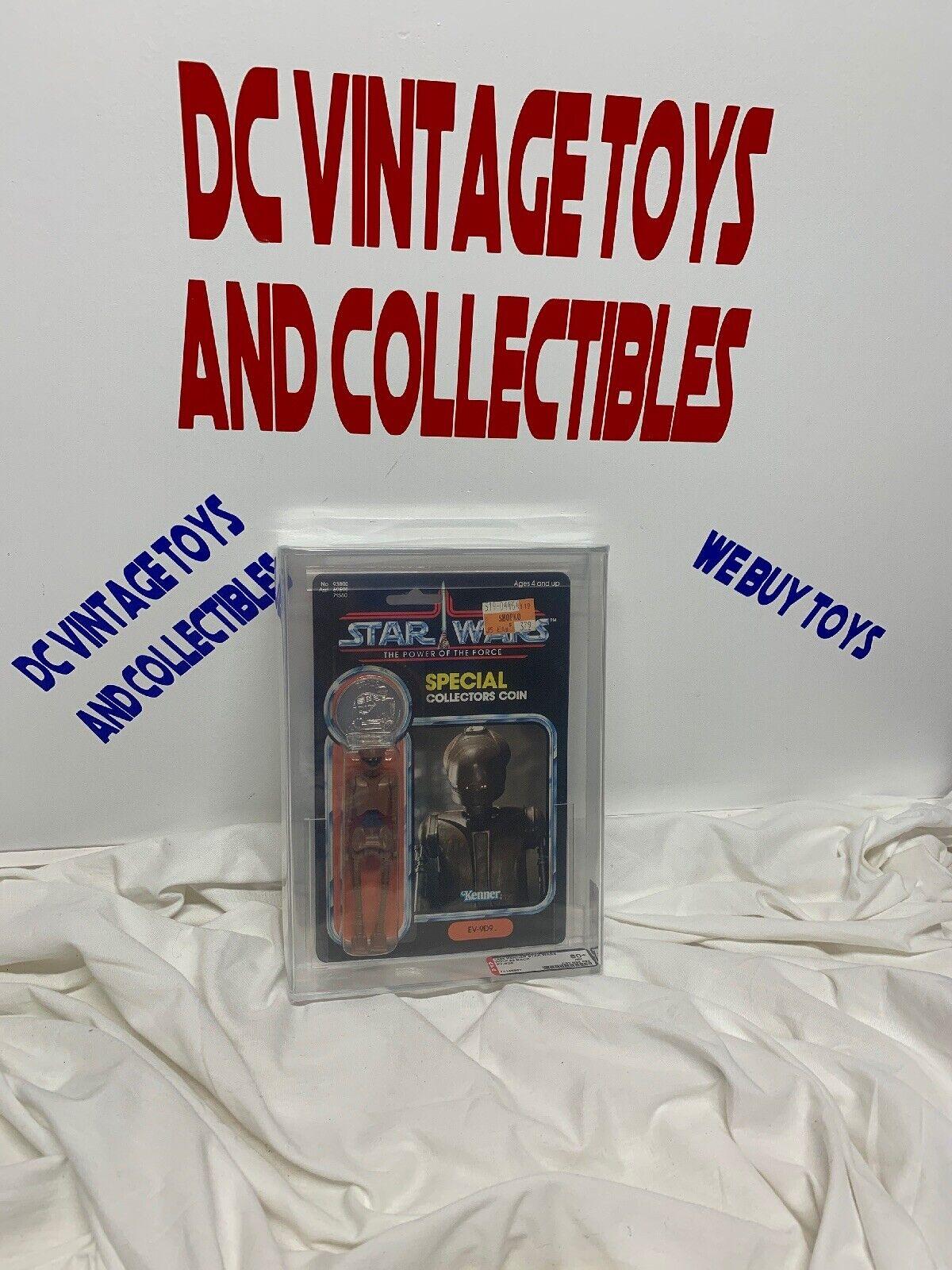 Vintage 1985 Star Wars Pouvoir de la force 92 dos EV-9D9 Figure Figurine Autorité 80 85 85 clair bulle