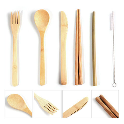 7 in 1 Bamboo Fork Spoon Spork Cutlery Utensil Combo Kitchen Outdoor Picnic Pack