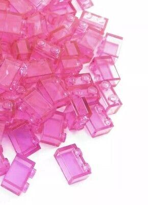 LEGO Trans Dark Pink Brick 1x2 Lot of 100 Parts Pieces 3065